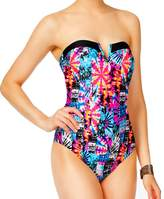 Jessica Simpson Cheeky V-Wire Macrame Strappy Back Bandeau One Piece Swimsuit M