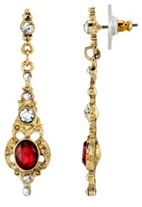 Downton Abbey Gold-Tone Belle Epoch Red Stone and Crystal Drop Earrings