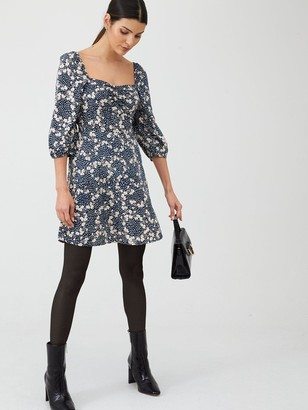 Very Floral Puff Sleeve Tea Dress