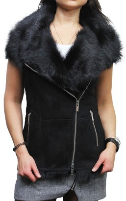 BRANDSLOCK Women's Black Real Suede Luxurious Toscana Spanish Merino Fur Shearling Soft Sheepskin Leather Gilet Tailored Fit (L)