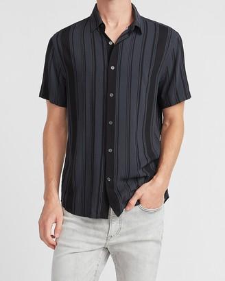 Express Striped Rayon Short Sleeve Shirt