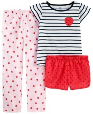 Carter's Big Girls 3 Piece Strawberry Loose Fit Pajama Set
