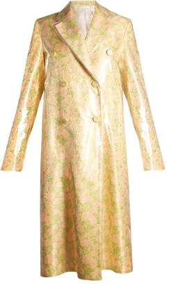 Calvin Klein Coated-overlay Floral-jacquard Coat - Womens - Orange Multi