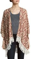 Mixed-Print Lace-Trim Cape