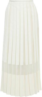 3.1 Phillip Lim Crepe-paneled Pleated Chiffon And Grosgrain Midi Skirt