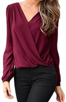 Min Qiao Women's Plus Size Crochet Back Long Sleeve Asymmetrical Chiffon Blouse Top T-Shirts