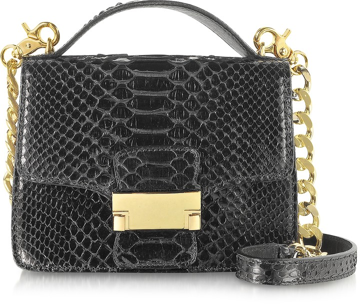 Ghibli Black Python Leather Shoulder Bag