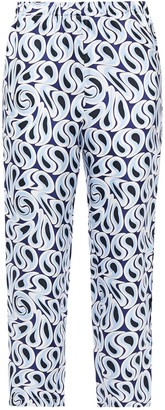 Marni Cropped Printed Silk-twill Tapered Pants