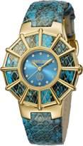 Roberto Cavalli Women's RV2L009L0026 WEBBING Diamond Yellow Gold IP Torquoise Dial Leather Watch