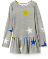 Classic Little Girls Long Sleeve Pattern Skirted Leggings Top-Gray Heather Large Stars