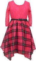 Bonnie Jean Plaid 3/4-Sleeve Hankie Skater Dress - Girls Plus