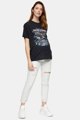Topshop Womens **Maternity Bleach Stone Ripped Mom Tapered Jeans - Bleach Stone