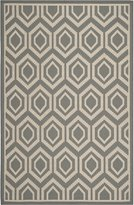 Safavieh Courtyard Collection CY6902-246 Anthracite and Beige Indoor/Outdoor Area Rug, 5-Feet 3-Inch by 7-Feet 7-Inch