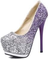 fereshte Womens Glitter Pointed-toe Platform High Heel Stiletto Dress Wedding Pump Shoes US Size 7