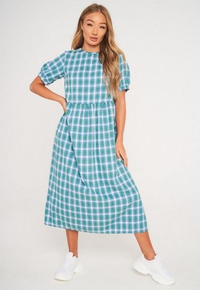 Missguided Green Plaid Smock Midi Dress