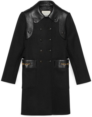 Gucci Petit wool coat with leather details
