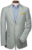 Slim Fit Sky And White Stripe Seersucker Cotton Jacket Size 36