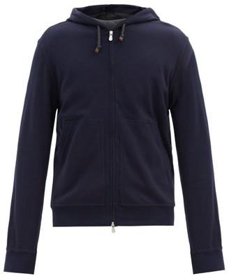 Brunello Cucinelli Cotton-blend Jersey Hooded Zip-up Sweatshirt - Navy