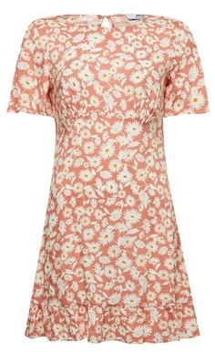 Dorothy Perkins Womens Dp Petite Coral Daisy Print Fit And Flare Dress, Coral