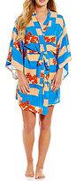 Josie Floral & Striped Challis Kimono Robe