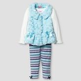 Young Hearts Toddler Girls' Faux Fur Vest, Top & Legging - Aqua Blue