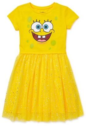 SpongeBob Squarepants Girls' 4-12 Foil Mesh Tutu Dress