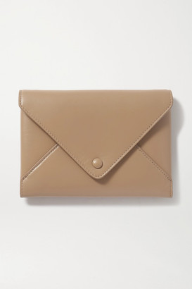 The Row Envelope Small Leather Clutch - Beige