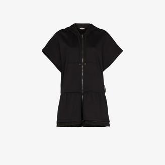 Moncler Long Hooded Zipped Jersey Sweatshirt