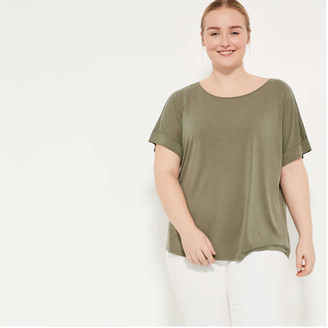 Joe Fresh Women+ Relaxed-Fit Tee, Olive (Size 1X)