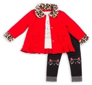 Little Lass Baby Girl's 3-Piece Faux Fur Leopard-Print Trim Jacket, Graphic Cat-Print Top & Leggings Set