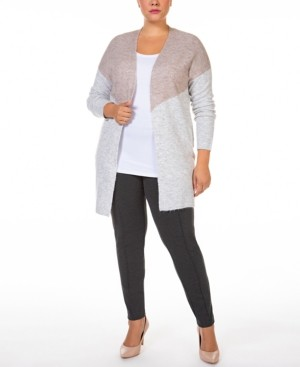 Black Tape Plus Size Colorblocked Open-Front Melange Cardigan Sweater