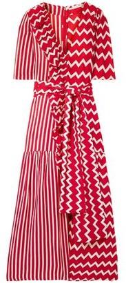 Stella McCartney Ruffle-trimmed Printed Silk-moire Maxi Dress