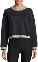 Koral Activewear Club Raglan Rib-Stripe Sweatshirt, Black