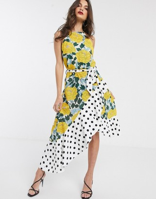 Forever U Collection asymmetric dress in bright floral and polkadot mix