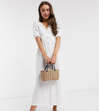 ASOS DESIGN Petite broderie tea maxi dress with puff sleeve in white