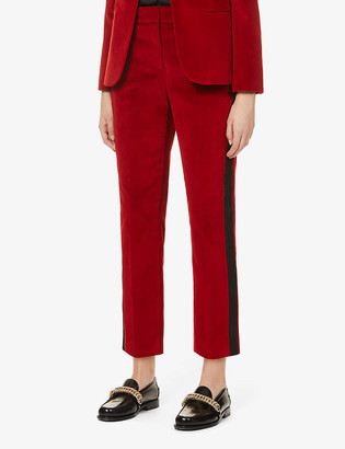 Me And Em Cropped side-panel stretch-velvet trousers