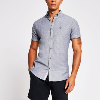 Maison Riviera Mens River Island Grey short sleeve muscle fit oxford shirt