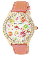 Betsey Johnson Women's Citrus Party Crystal Embossed Leather Watch