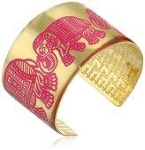 Mercedes Salazar Fuchsia Handmade Brass Enameled Red Cuff Bracelet