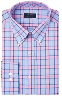 Club Room Men's Classic/Regular-Fit Performance Stretch Garden Plaid Dress Shirt, Created for Macy's