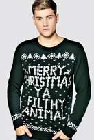 boohoo Merry Christmas Ya Filthy Animal Jumper bottle