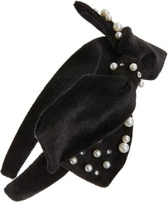 Bari Lynn Crystal & Imitation Pearl Bow Headband