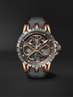 Roger Dubuis Excalibur Huracan Automatic Skeleton 45mm 18-Karat Pink Gold, Titanium And Rubber Watch, Ref. No. Rddbex0750