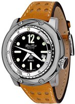 Glam Rock Men's Miami Racetrack 50mm Brown Leather Band Steel Case Automatic Black Dial Watch GR90200-T