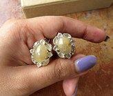 FootSoles24 Gold Rutile Earrings, Bridal Earrings, Sterling Silver Clip On Earrings, Gold Stud Earrings, Gemstone Earrings, Bridesmaid Gifts