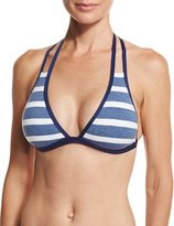 Splendid Chambray Cottage Striped Strappy Halter Swim Top