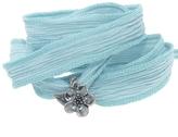 Catherine Michiels Cherry Blossom Silver Charm & Silk Bracelet Wrap