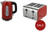 Swan Stainless Steel Kettle & 4 Slice Toaster Twin Pack - Red