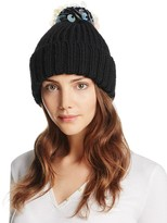 Aqua Ribbed Beanie with Sequined Pompom - 100% Exclusive