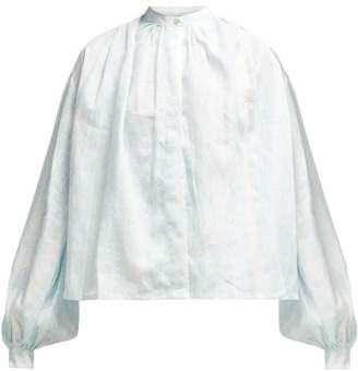 Thierry Colson Slava Floral Print Linen Blouse - Womens - Light Blue